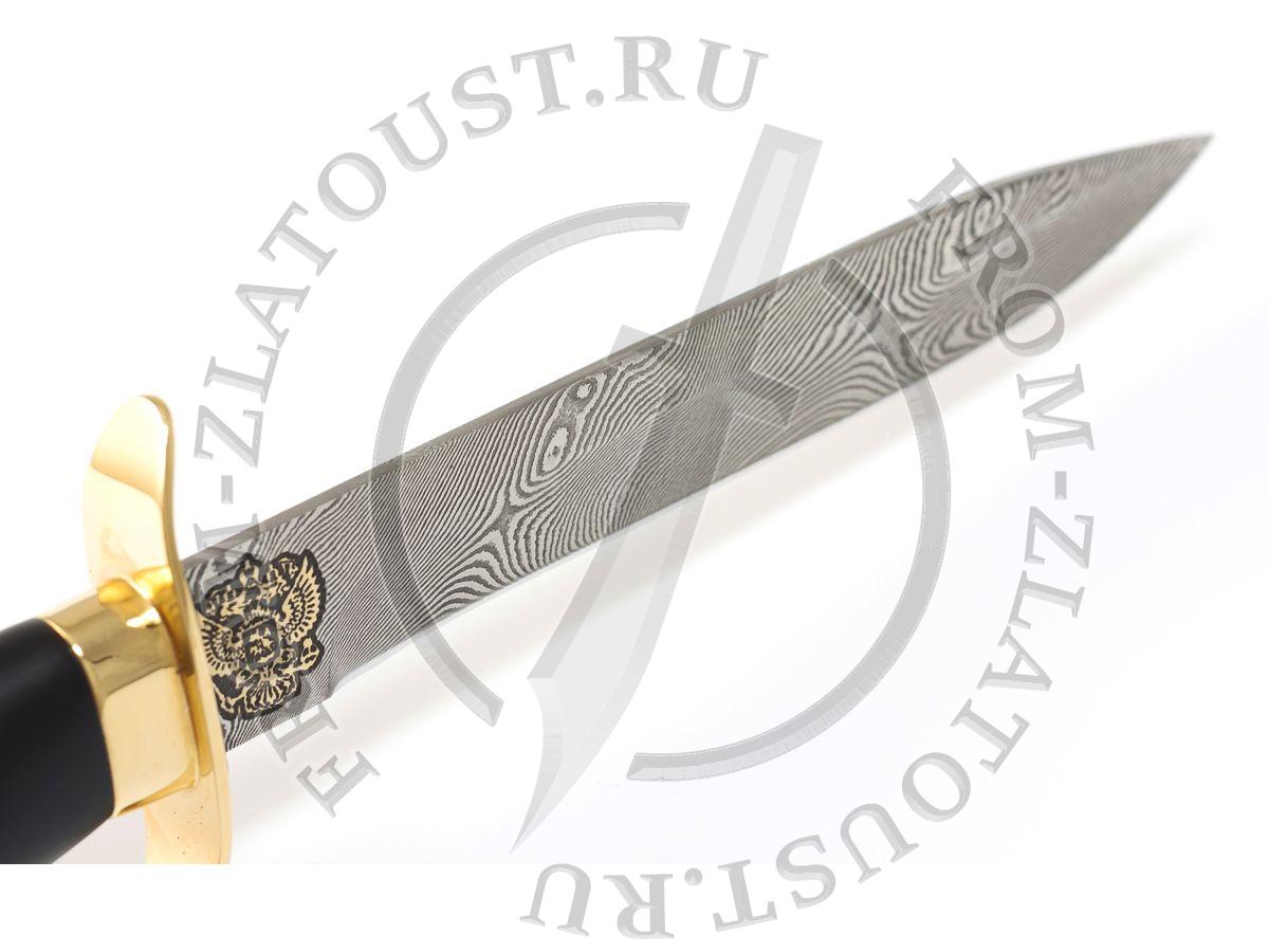 Офицерский. Рукоять и ножны дерево с полимерным покрытием. Дамаск. Золочение. Герб РФ