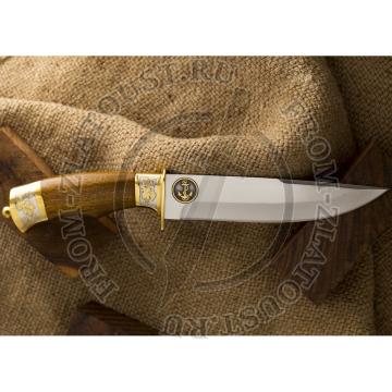Турист-1. Подарочный. Рукоять орех. Символика морской пехоты. Сталь ЭИ-515