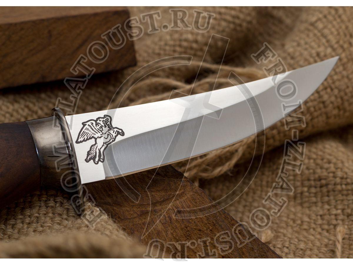 Клычок-1. Рукоять кап ореха. Латунь в черном никеле. Сталь ЭИ-515